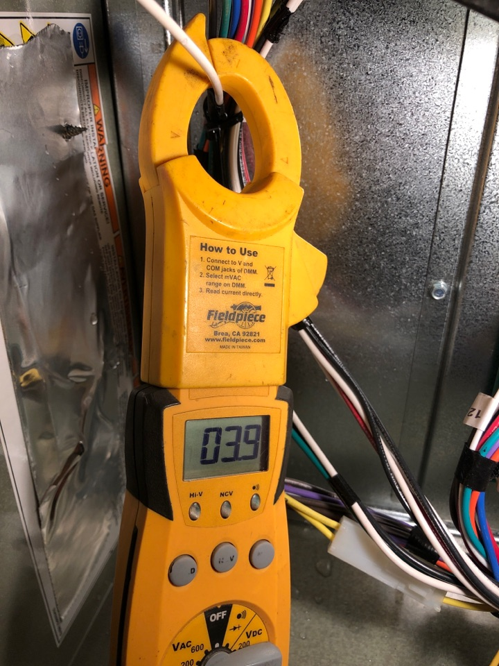 Freeport, IL - Seasonal furnace inspection on a Variable Speed Trane furnace. That's some low electrical amp draws there!