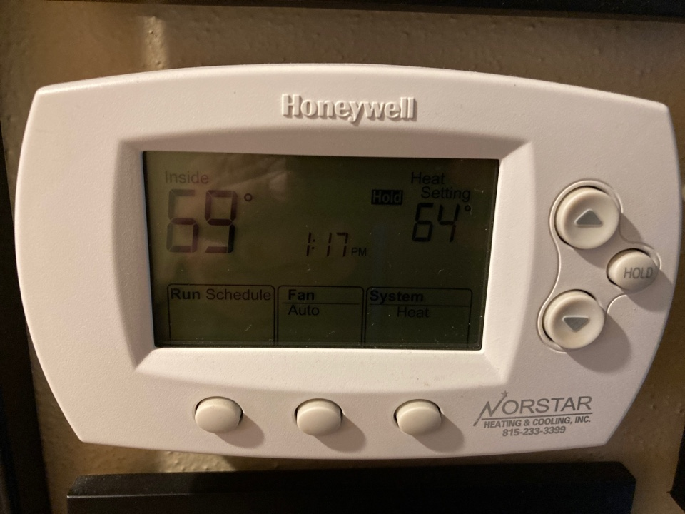 Freeport, IL - Seasonal maintenance inspection on the air conditioning system. Nice Honeywell thermostat Z