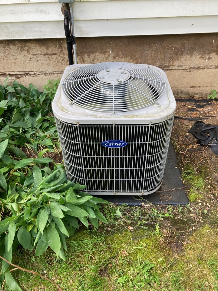 Lena, IL - Seasonal maintenance on this Carrier air conditioner.