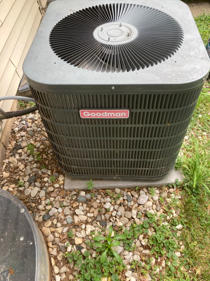 Pecatonica, IL - Annual clean and check on this Goodman air conditioner!