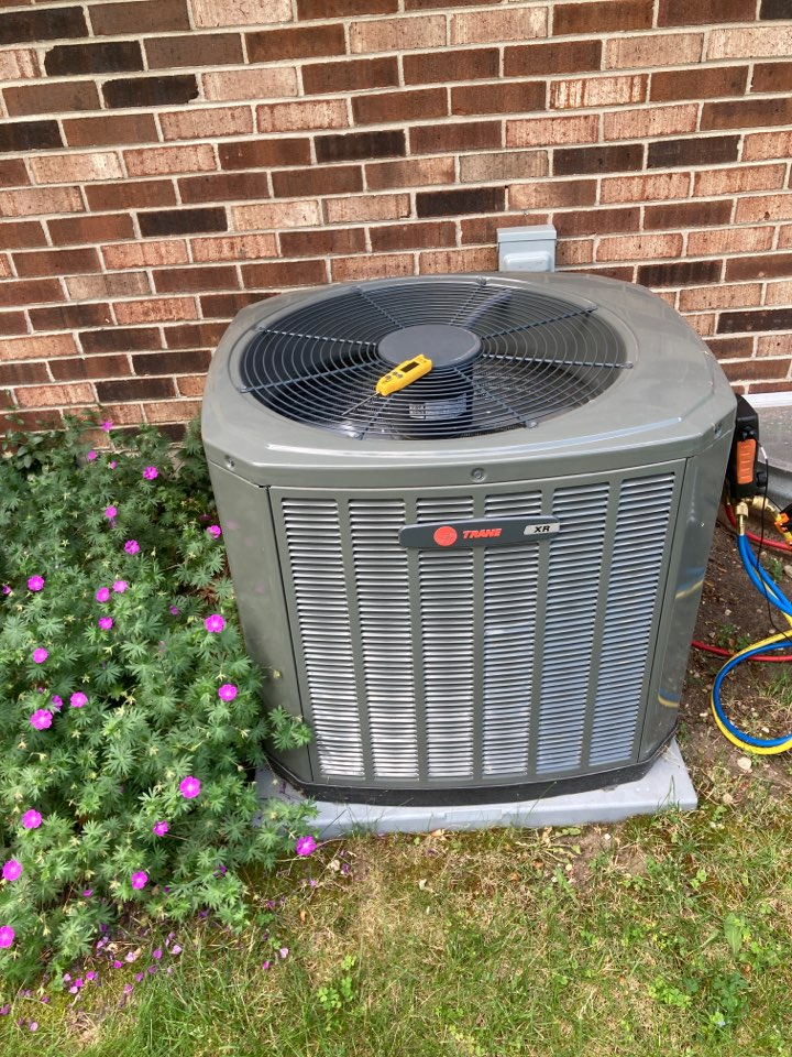 Pecatonica, IL - Performed yearly maintenance on this Trane air conditioner!