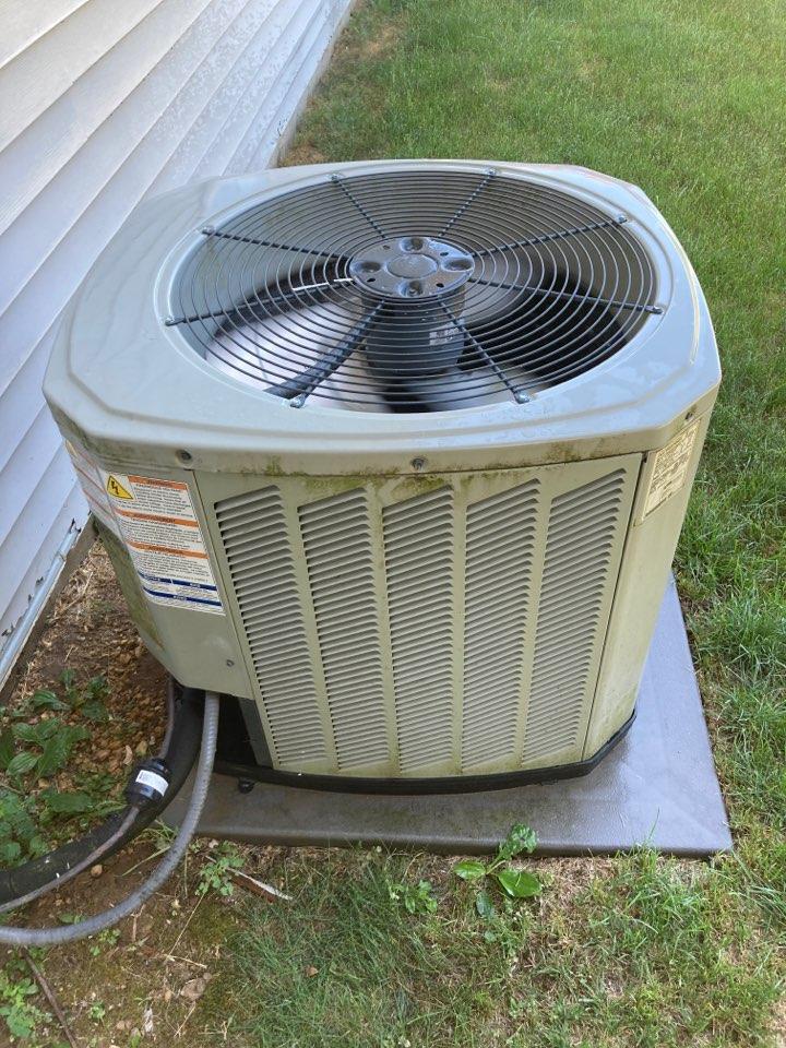 Seasonal maintenance on this Trane air conditioner.