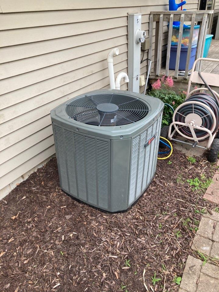 Byron, IL - Trane air conditioner getting ready for summer!