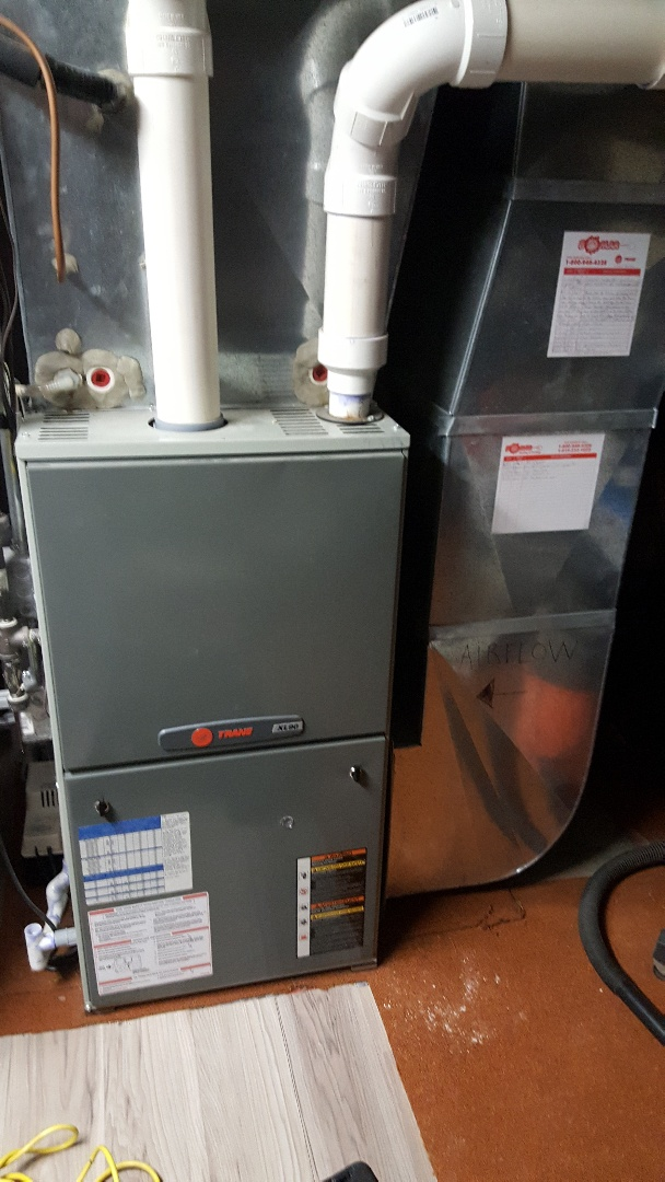 Orangeville, IL - Furnace maintenance on a Trane furnace.