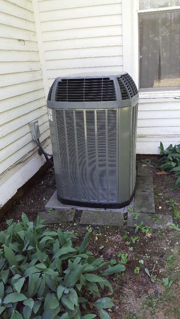 Lena, IL - Seasonal cleaning on a Trane air conditioner. Minor wire repair on this one saves a simple breakdown later!