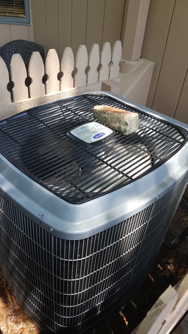Freeport, IL - Seasonal maintenance on a carrier air conditioner. If you have to put a rock on the top to quiet it down chances are something isn't right!