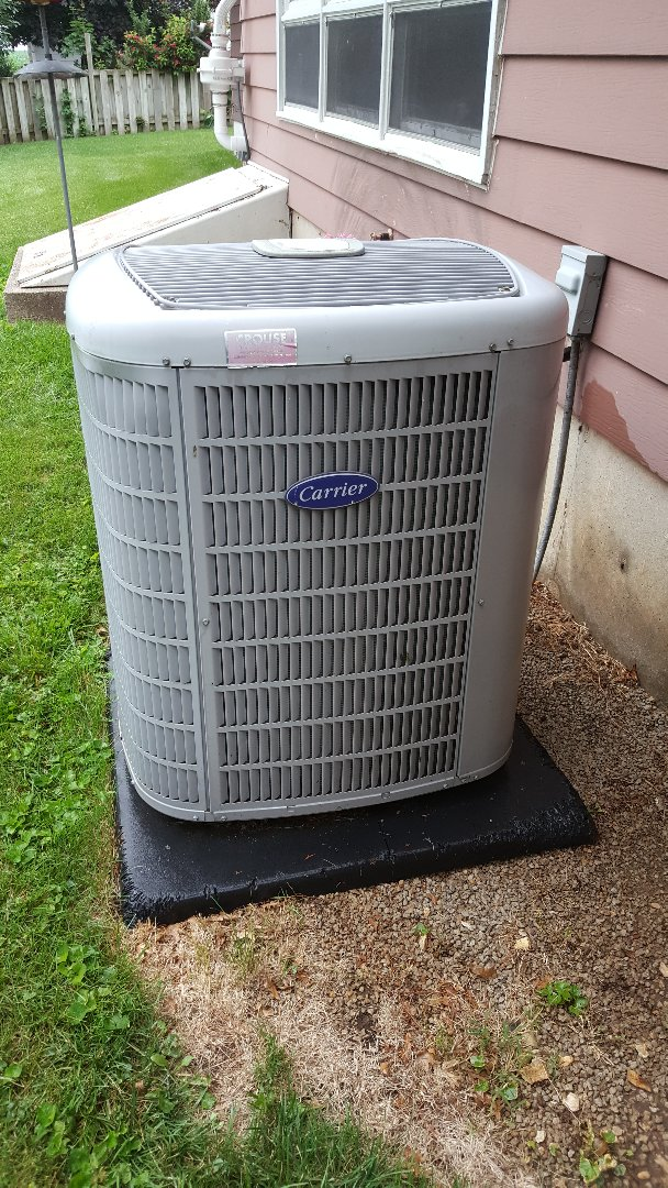Lanark, IL - Seasonal maintenance on a Carrier air conditioner. Sure is better than a dropper!