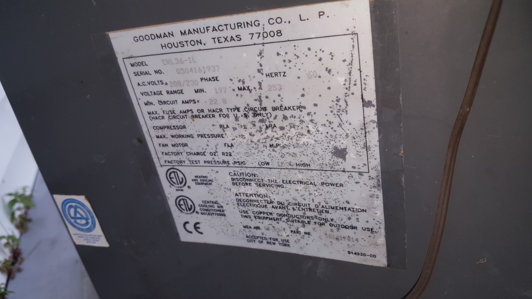 Pearl City, IL - Seasonal maintenance on a Goodman air conditioner. Sucks when you can't read most of the label!