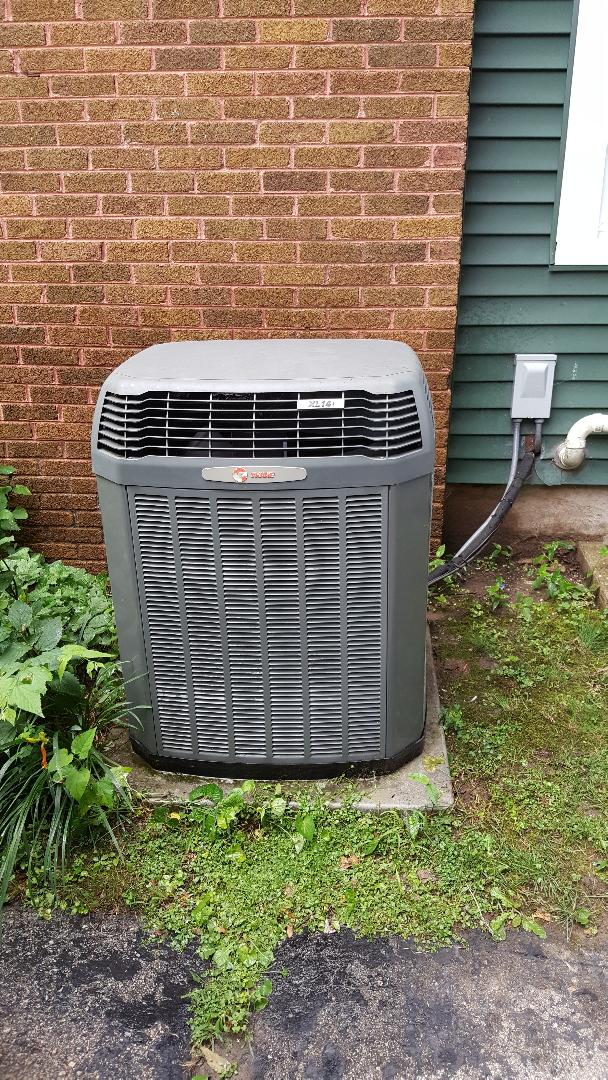 Freeport, IL - Seasonal inspection on a Trane air conditioner. 13 years old still going strong!