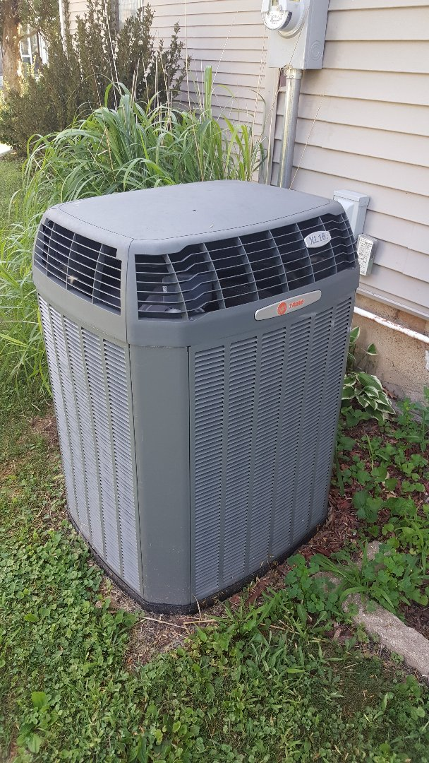 Shannon, IL - Seasonal maintenance on a Trane air conditioner.