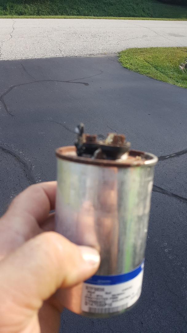 Belvidere, IL - While performing annual air conditioning maintenance inspection and cleaning found burnt wire