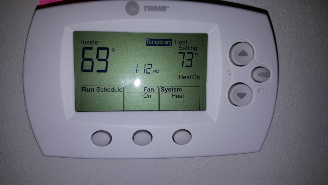 Freeport, IL - Seasonal maintenance on a Trane furnace in Freeport.  That's a nice Honeywell thermostat.