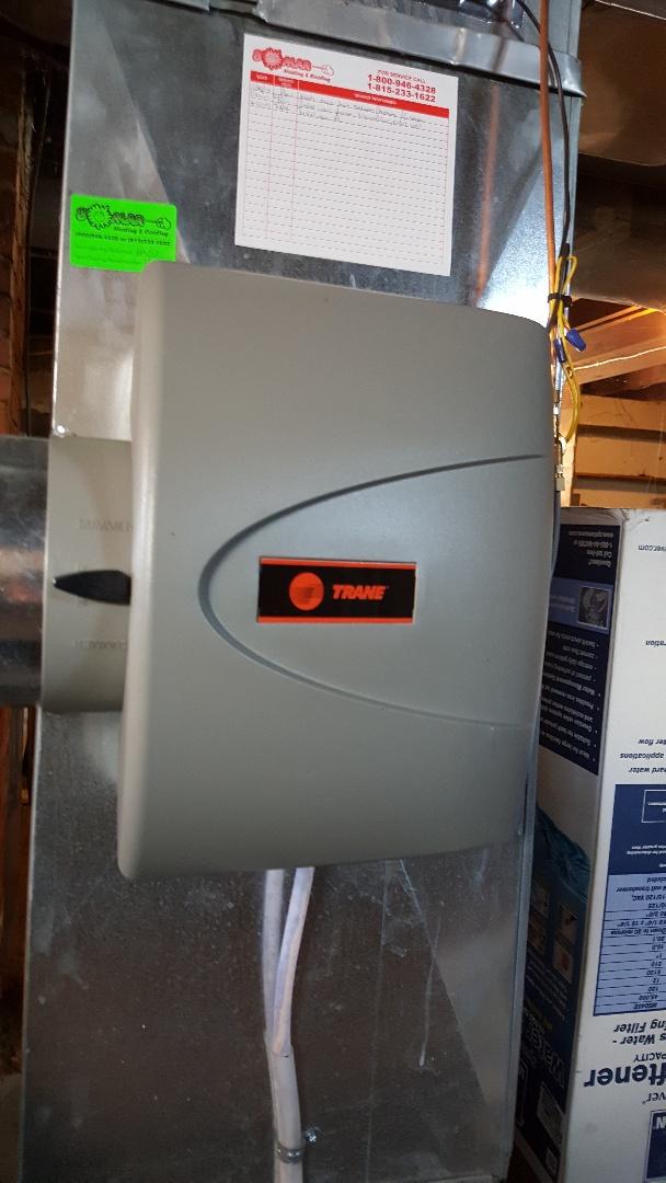 German Valley, IL - Seasonal inspection of a Trane furnace and humidifier.