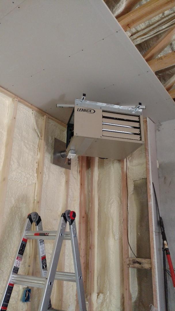 Jim Thorpe, PA - Installed a new propane Lennox garage heater in Jim Thorpe