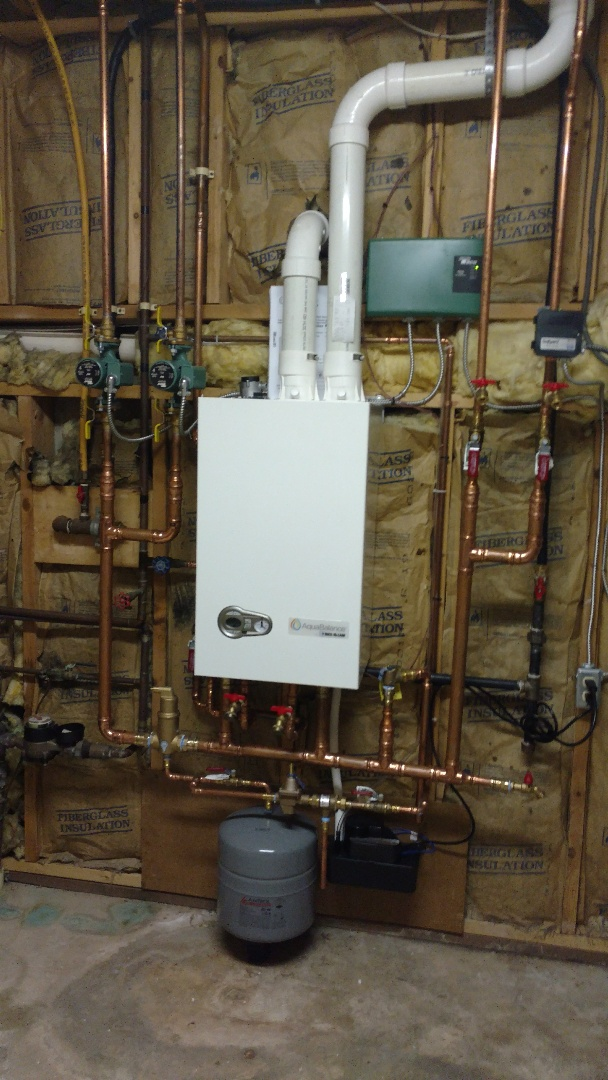 Nesquehoning, PA - Finished a propane Weil-McLain on demand boiler with domestic hot water in Nesquehoning