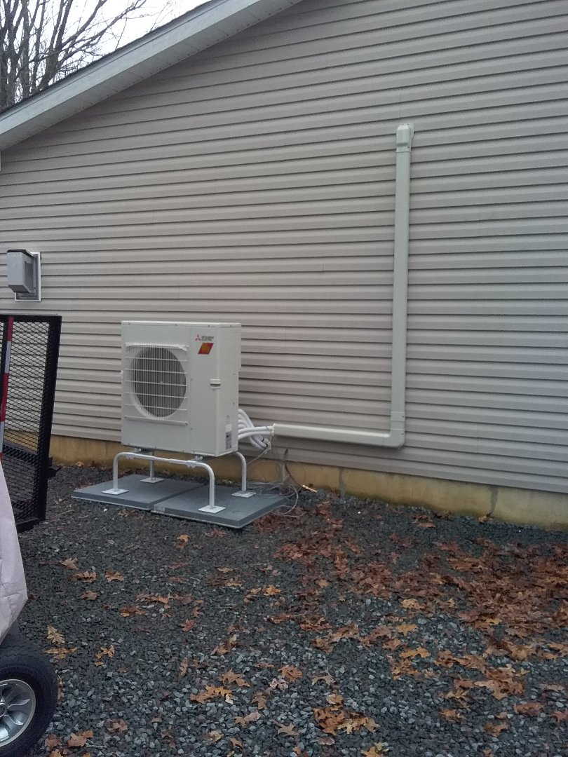 Albrightsville, PA - Installing 3 zone Mitsubishi ductless system in Albrightsville.