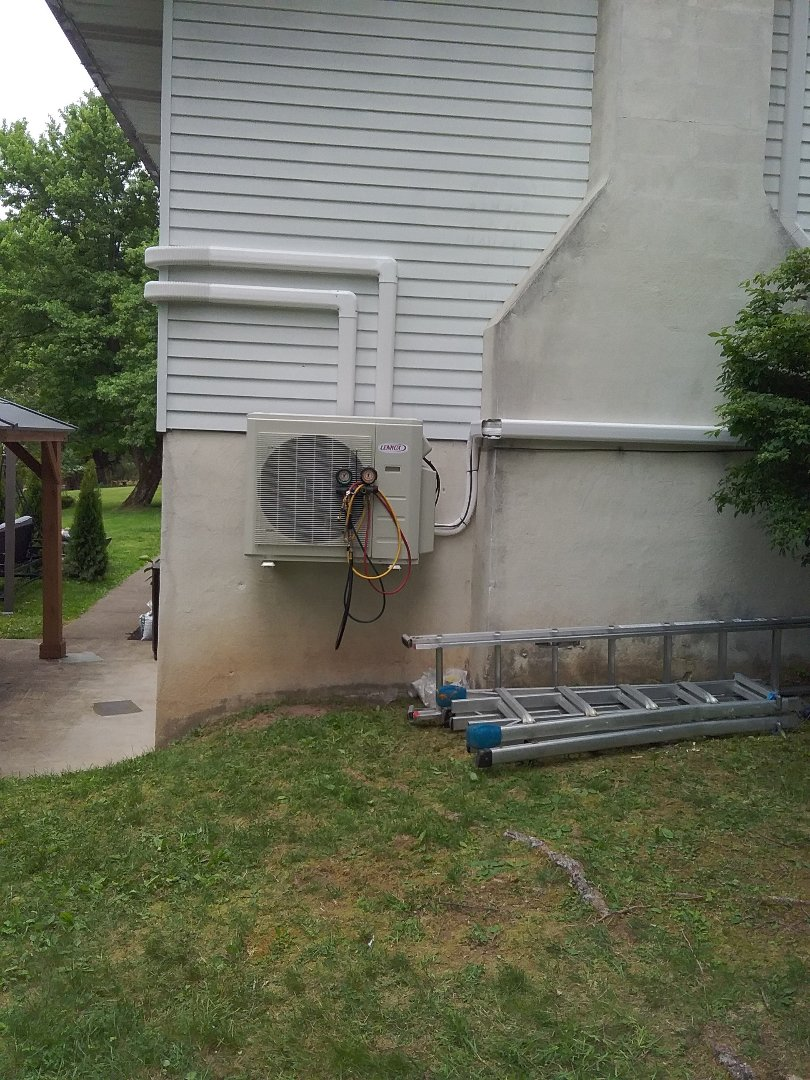 Installing 3 zone Lennox ductless heat pump system in East Stroudsburg.