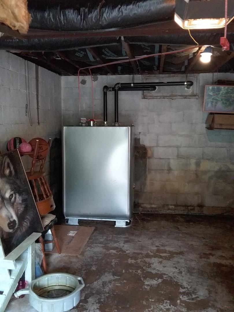 Installed Granby 2 in 1 oil tank in Slatington.