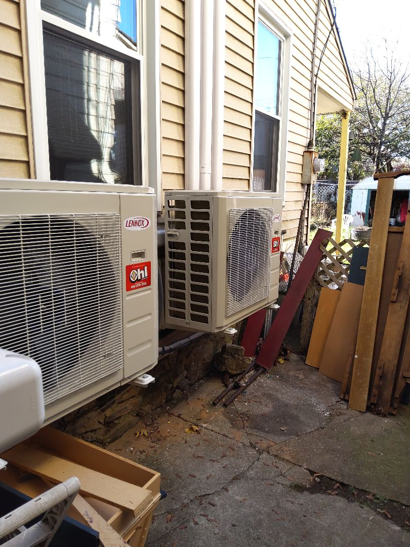 Easton, PA - Installed 5 zone Lennox ductless heat pump system in Easton.