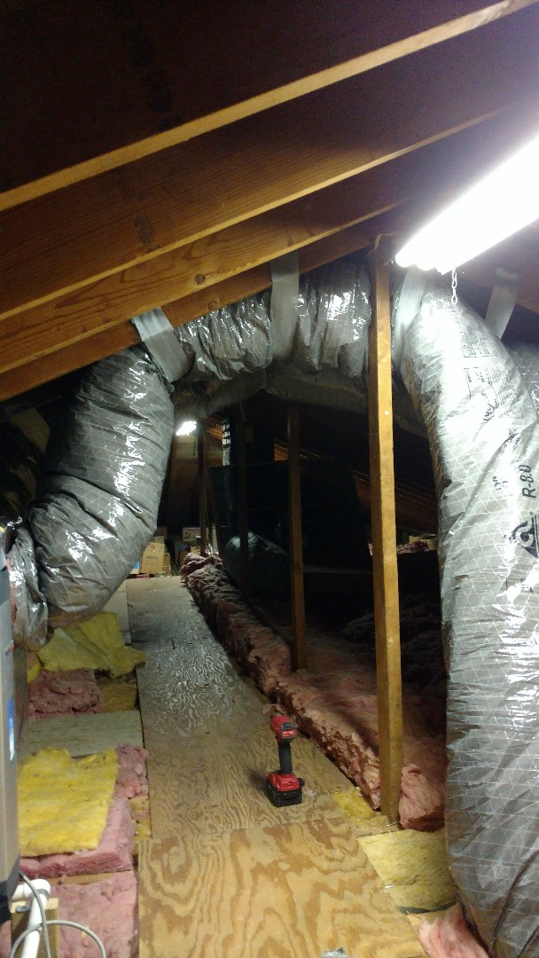Whitehall, PA - Moved DUCTWORK above attic walkway in Whitehall.