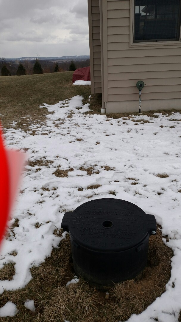 Nazareth, PA - Setting a propane tank for heating and cooling