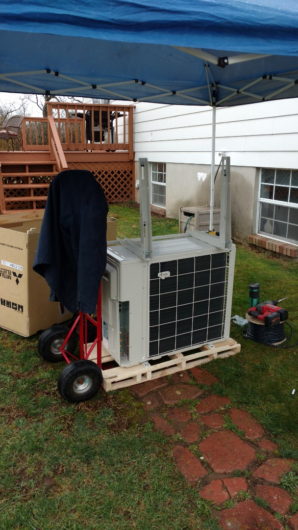 Brodheadsville, PA - Starting an installation of a Mitsubishi Ductless heatpump system in Broadheadsville
