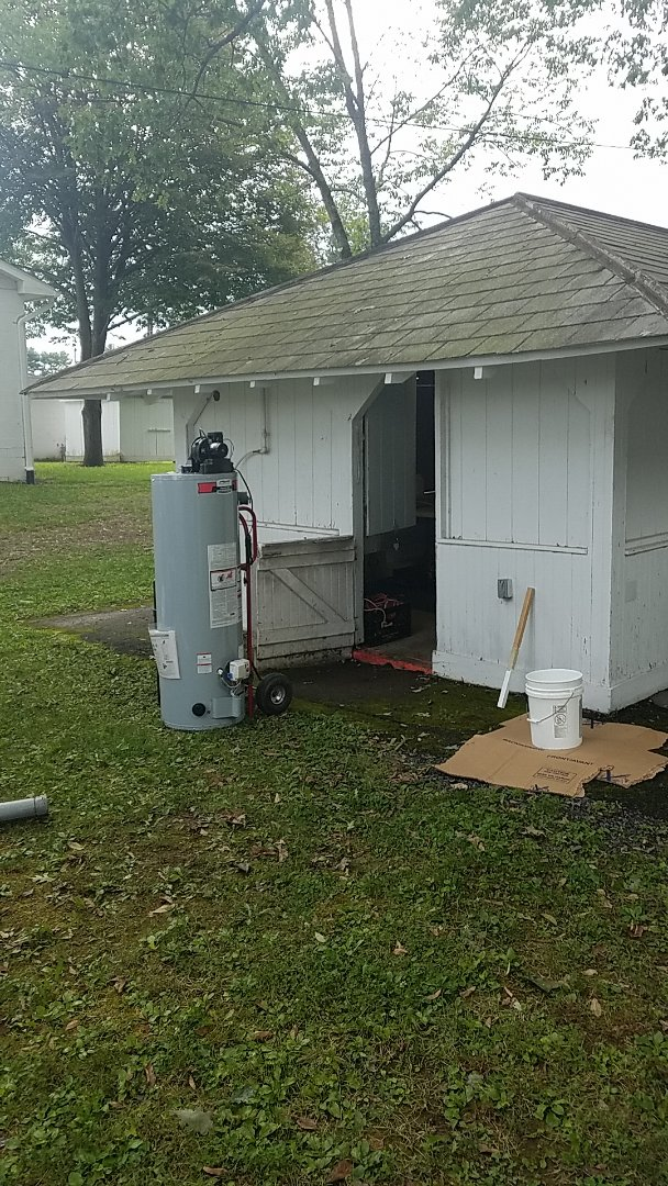 Gilbert, PA - Replacing LP water heater at west end fairgrounds
