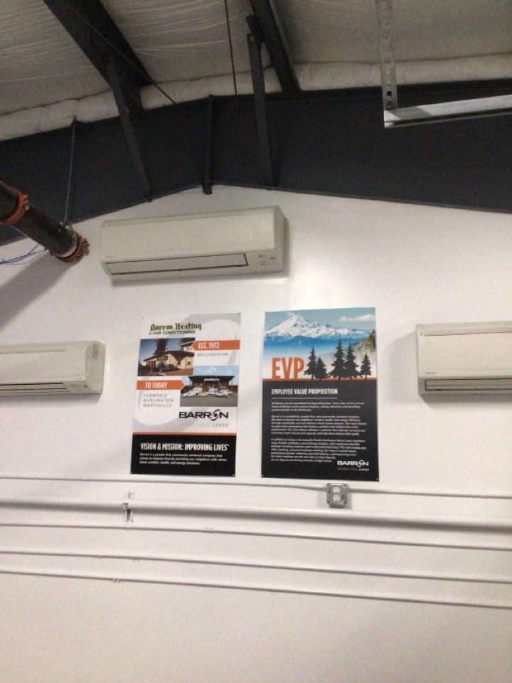 Ferndale, WA - Daikin indoor head at Barron Heating Technical School in Ferndale, WA.