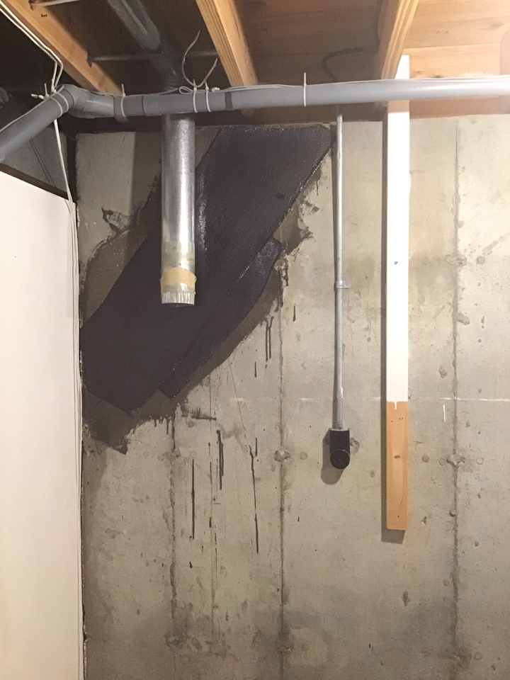 St. Louis, MO - In order to help with the sale of this house the homeowners hired us to install carbon fiber cloth to help strengthen a crack in the foundation.