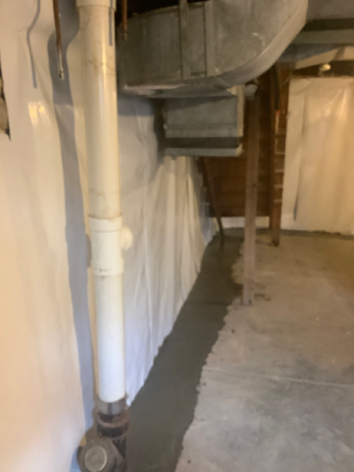 Kirkwood, MO - Drain system with vinyl sheeting