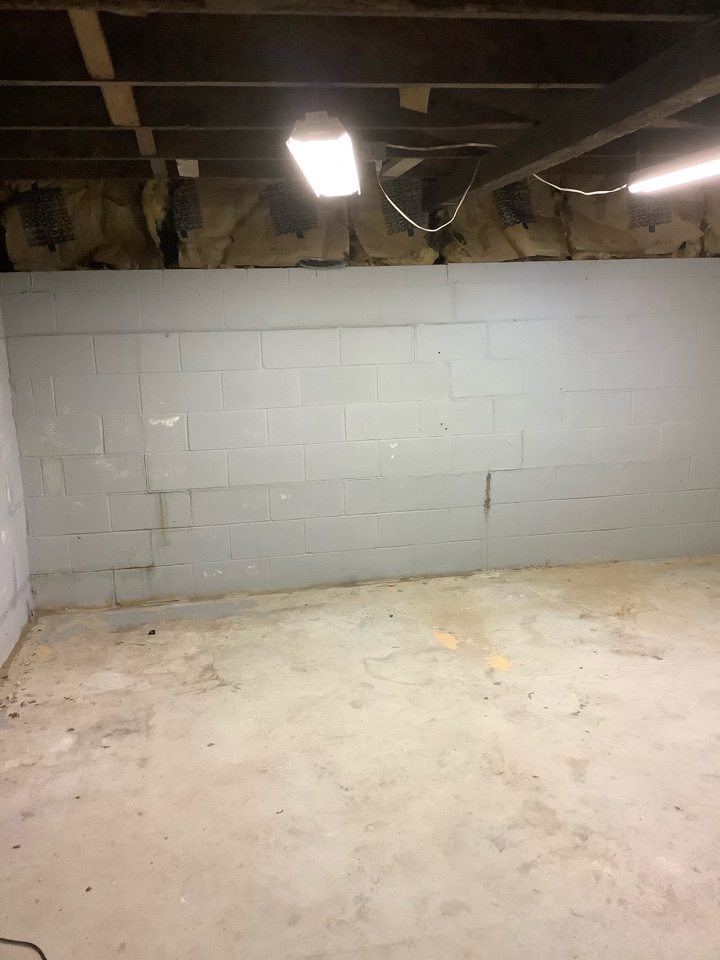 Chesterfield, MO - This is what hydrostatic pressure can do to a cinder block wall.