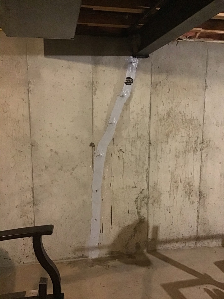 House Springs, MO - This homeowner had a massive crack in his basement and he did not want it to leak anymore.  So he hired us and we injected the crack with a lifetime of structure waterproofing warranty.