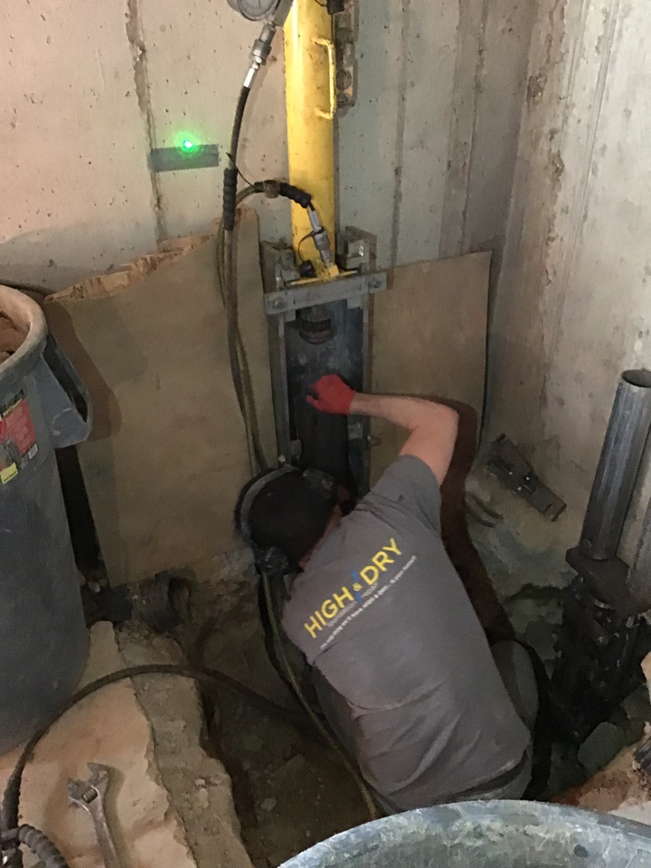 Imperial, MO - This basement was sinking and affecting the upstairs. They had cracks in the drywall sticking and jamming doors and windows that were breaking. We are installing steel push piers to put the house back in place!