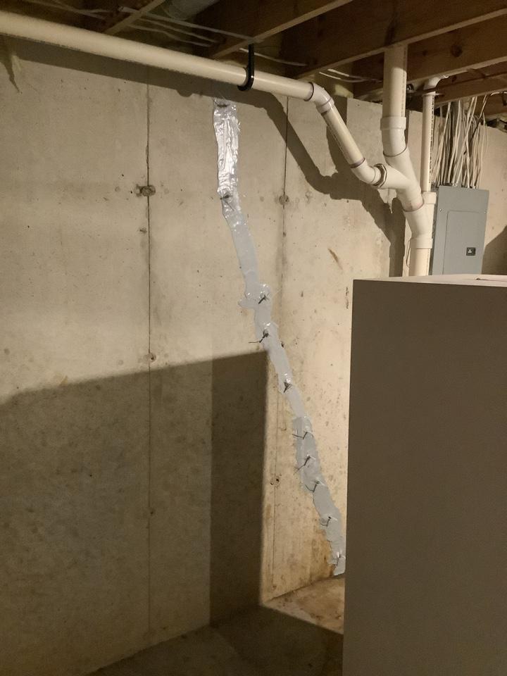 Cracks repaired with standard waterproofing warranty