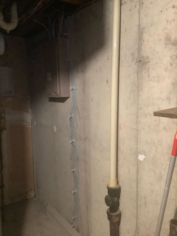 This crack was leaking behind a furnace in the basement. This injection will keep the basement dry.