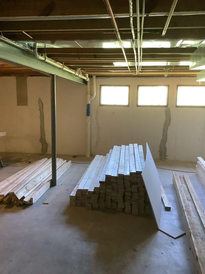 Ballwin, MO - Crack repair with standard warranty before finishing basement