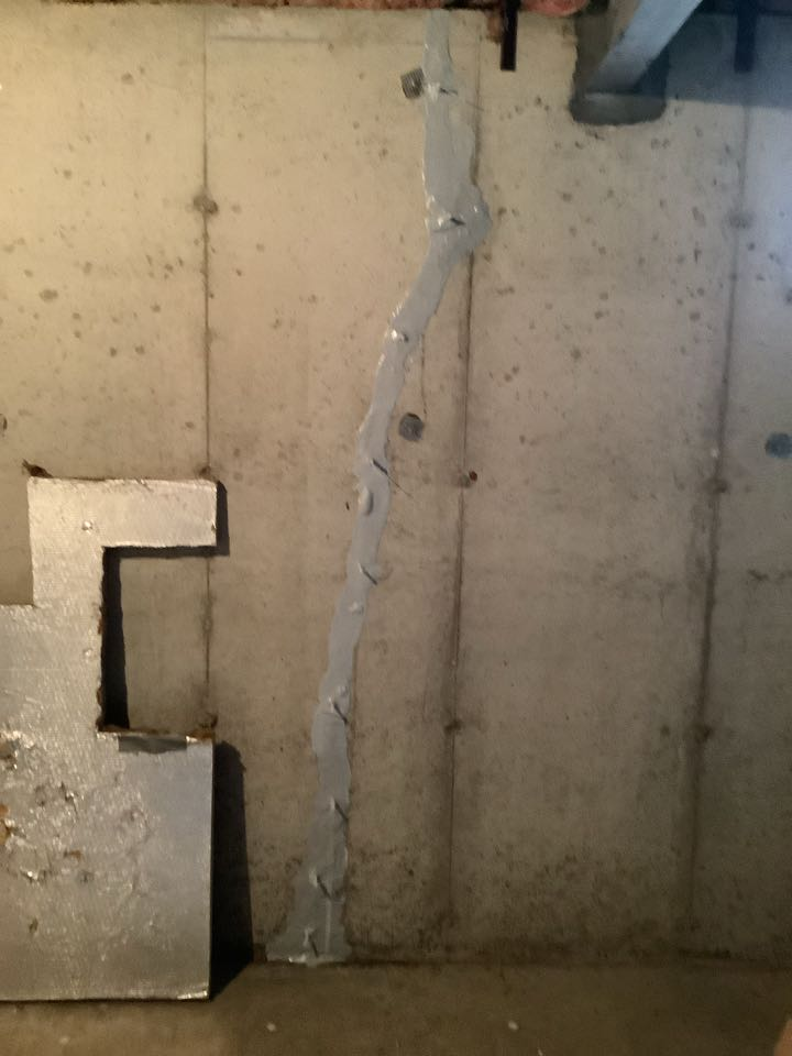 Basement crack repair with standard warranty