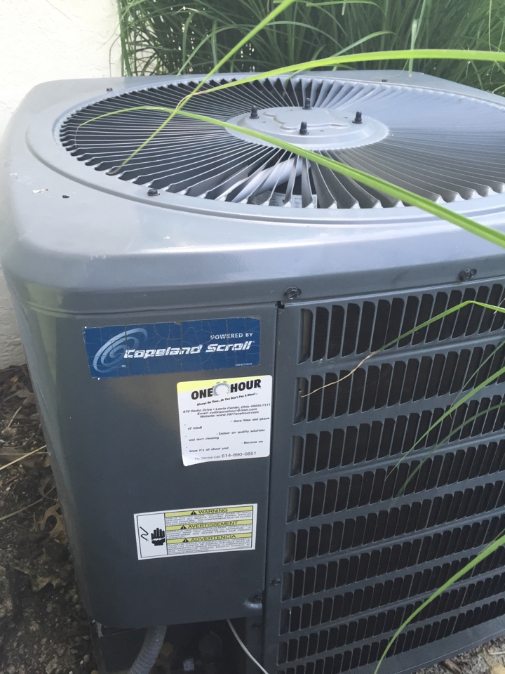 Reynoldsburg, OH - Working on a One Hour air conditioner unit.
