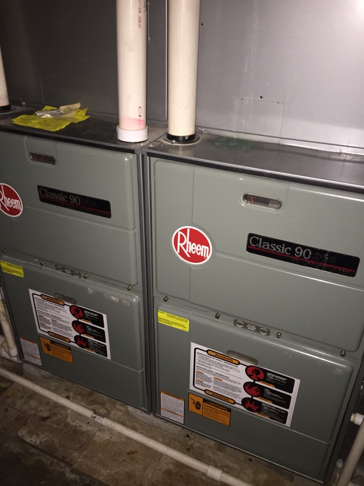 Bexley, OH - Tune up of two Rheem furnaces.