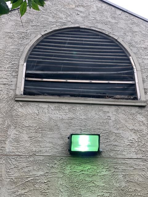 Roswell, GA - Siding Repair - Several of the louvres in the gable vent have warped and become loose. The screen meant to keep animals and insects out has been damaged as a result.  We will remove the existing screen and the damaged louvres, install new pressure treated louvres and a new screen.