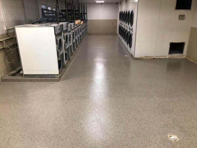 Laundromats deserve to have a nice decorative floor too! Epoxy flake gives any floor a beautiful look while being cost-effective for any business or home owner! Choose any color combinations you want!!