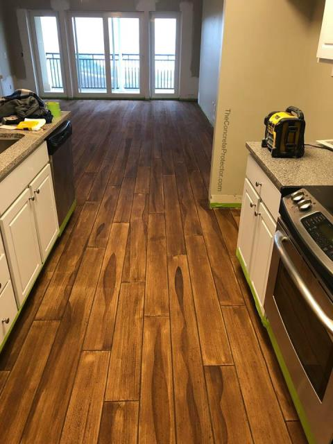 Want that hardwood floor look in your kitchen, but worry about possible damages due to spills and messes? Concrete wood provides an authentic look and texture similarity, while offering waterproof and scratch resistant protection you can not get from other floors!