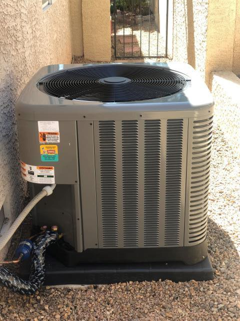 Install new RUUD 4 ton condensing unit refrigerant R410 in green valley neighborhood.