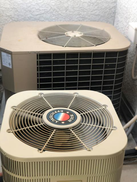 Las Vegas, NV - Install new Condenser Fan Motor and new Motor Run Capacitor for a 5 ton YORK unit.