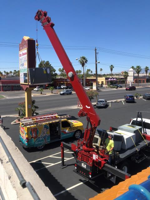 Las Vegas, NV - Completed New Installation of 4 ton RUUD brand commercial rooftop heat pump AC unit in Chinatown District.