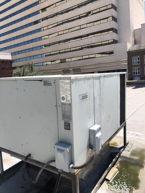 Las Vegas, NV - Repair Install new Condenser Fan Motor and Run Capacitor for American Standard brand 4 ton rooftop heat pump air conditioning system. Chemically clean, rinse and sanitize coils in Downtown Las Vegas area.