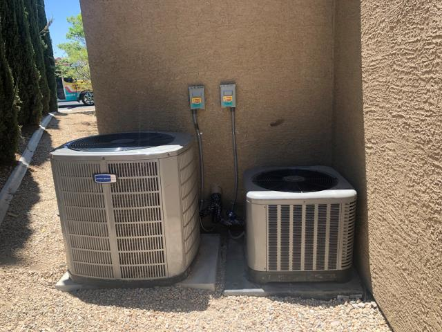 Install new 2 ton RUUD brand complete split system heat pump AC unit with all new ductwork and re locate 5 ton American Standard AC unit to make room for guest house remodel addition in Anthem community.