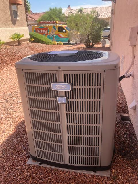 Las Vegas, NV - Repair American Standard 4 ton 14 seer unit. Install new Condenser Fan Motor and new Run Capacitor. Also Chemically clean outdoor coil in Sun City Summerlin Area.