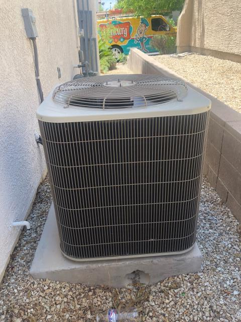 Las Vegas, NV - Repair Install new Condenser Fan Motor and Run Capacitor for 5 Ton Carrier brand AC unit.