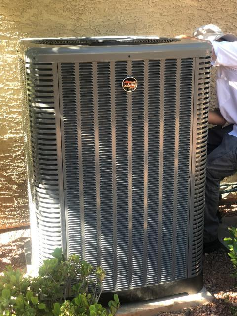 Las Vegas, NV - Installation of new 5 ton RUUD brand 16 seer outdoor condensing unit. New eco friendly R410 Freon and with a standard 10 year warranty included.